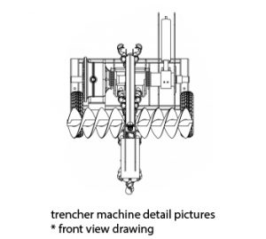 trenching machines Trenching Machines trencher machine front view2 300x269